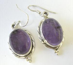 Amethyst Purple Silver Earrings Fancy design  (AE03)