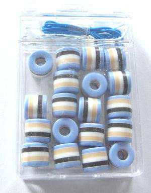 Bead kit Blue beads with white & black stripes
