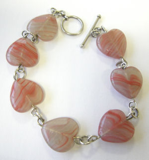 Heart  Silver Bracelet Red pink Beads (PHB206)