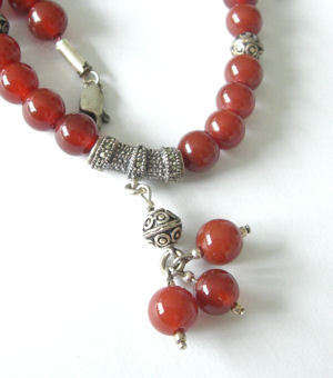 Carnelian Bead Necklace with silver (Car002P)