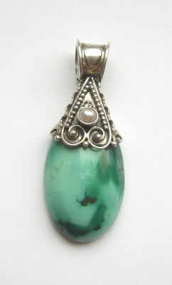 Blue Green turquoise silver pendant with Pearl (TPP01)