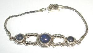 Lapis Lazuli Silver Chain Bracelet (LLB20)