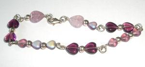 Heart  Silver Bracelet Lilac Glass Beads  (HsB207)