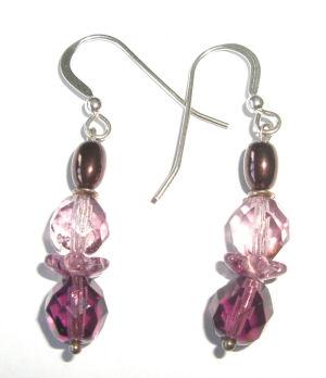 Purple swarovski earrings 'purple Haze'
