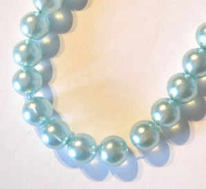 Glass Pearl Beads 50 x 8mm Aqua green/blue