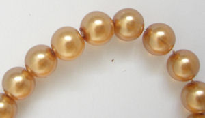 Glass Pearl Beads 50 x 8mm Gold