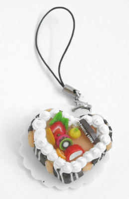Mobile Phone Pendant  Heart  Fruit Gateau Cake