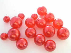 Glass Pearl Beads RED  8mm (GPRD19) pk 20