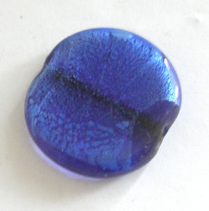 Blue Silver foil lampwork glass disc bead 32m (D36))