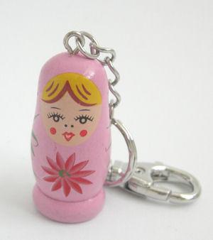 Matrushka Doll key fob / ring Pink