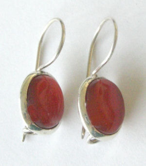 Carnelian & Silver Earrings from India (Ind001)