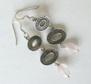 Silver  Pink Bead Earrings (PBE200)