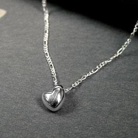 Silver Heart Pendant & Silver Chain - POM (NS)