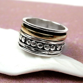 Spinning Ring - Sterling Silver with brass & Silver - POM (A0005)