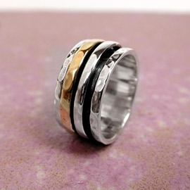 Spinning Ring - Silver with brass & Silver - POM (A0006)