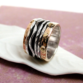 Spinning Ring - Sterling Silver with Brass - POM (A0007)