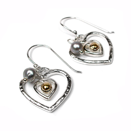Silver Heart Earrings  with Gold &  Pearls - POM (SB0064)
