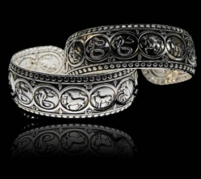 Bracelet Horoscope on white metal - Miao Tribal   (4312)