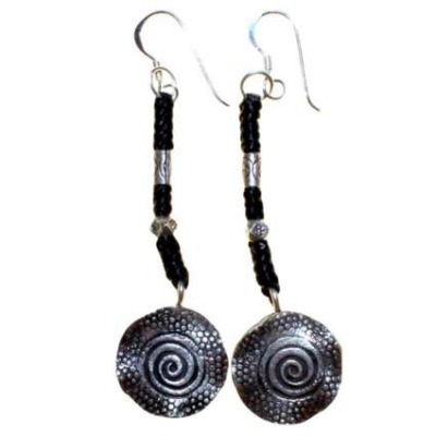 Black wax Cord, beads & Silver Spiral Earrings