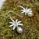 Sterling silver flower Earrings with Pearl (SB0107)