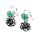 Silver Flower Earrings  Turquoise & Crystal  Beads (SB0075)