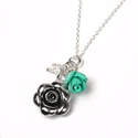 Silver Flower Necklace Turquoise & Crystal  Beads (SB0074)
