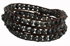 Leather Wrap Bracelet with Gemstone - BLACK (03)