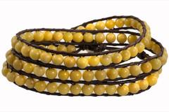 Leather Wrap Bracelet with Gemstone - YELLOW (010)