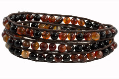 Leather Wrap Bracelet with Gemstone -  FIERY BLACK & BROWN (01)
