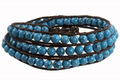 Leather Wrap Bracelet with Gemstone - BLUE TURQUOISE (04)