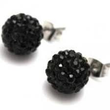 Crystal Disco Ball Earrings - BLACK