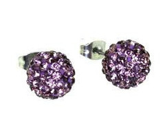 Crystal Disco Ball Earrings - LIGHT PURPLE