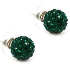 Crystal Disco Ball Earrings - EMERALD GREEN