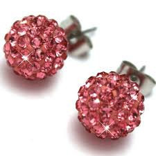 Crystal Disco Ball Earrings -  FUSCHIA PINK