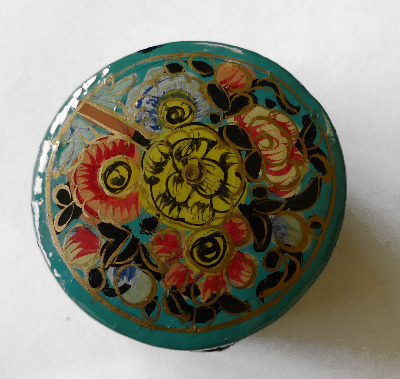 Kashmir Trinket Box round shaped BLUE with Flowers (805)