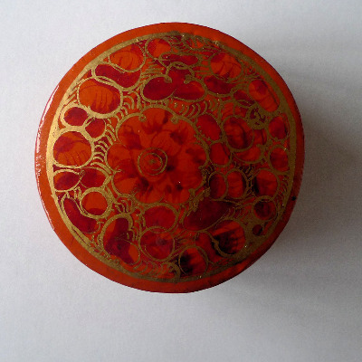 Kashmir Trinket Box round shaped ORANGE with Flowers (806)