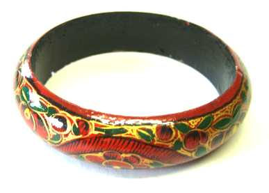 Kashmir Bangle - Ethnic Indian hand painted  BROWN B403