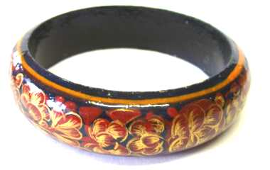 Kashmir Bangle - Ethnic Indian hand painted  BURGUNDY B402