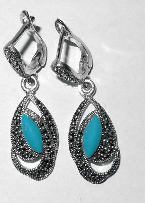 Turquoise silver earrings  (TIRE04)
