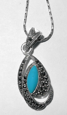 Turquoise Blue Stone silver necklace  (TIRP04)