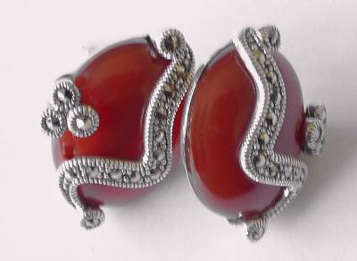 Carnelian silver  earrings  (C03E)