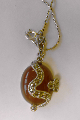 Carnelian Silver Necklace  with chain (C03N)