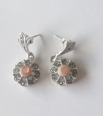 Pink Marcasite Silver Earrings (MARC01E)