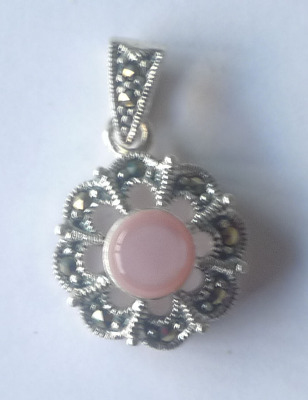 Pink Marcasite Silver Pendant  (MARC01N)