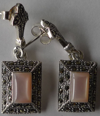 Pink Marcasite Silver Earrings Square (MARC02E)