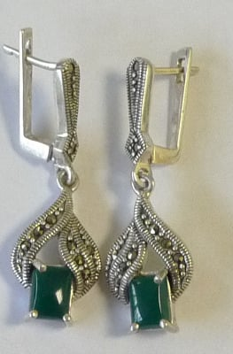 Green Onyx Silver Earrings (GrOn1E)
