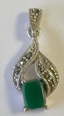 Green Onyx Silver Pendant  (GrOn1P)