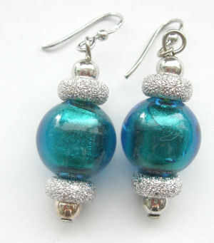 Teal murano silver foil glass earrings with silver (M-Ch-436)