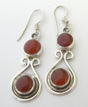 Carnelian silver  earrings  (C308068)
