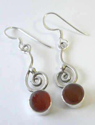 Carnelian silver  earrings (C308065)